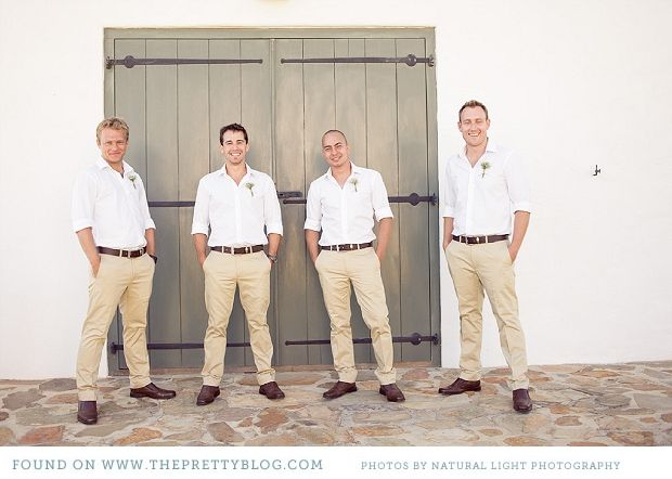 I like this for groomsmen. Khakis, white button up, pink ties (of course), and comfy shoes. Sandals or flip flops ok!