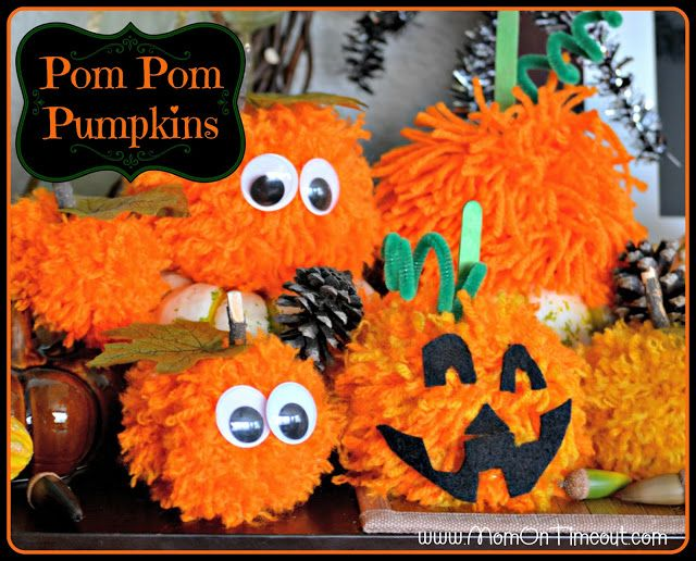 Make these Pom Pom Pumpkins with the kids this Halloween season! Super fun and SO easy too!    MomOnTimeout.com