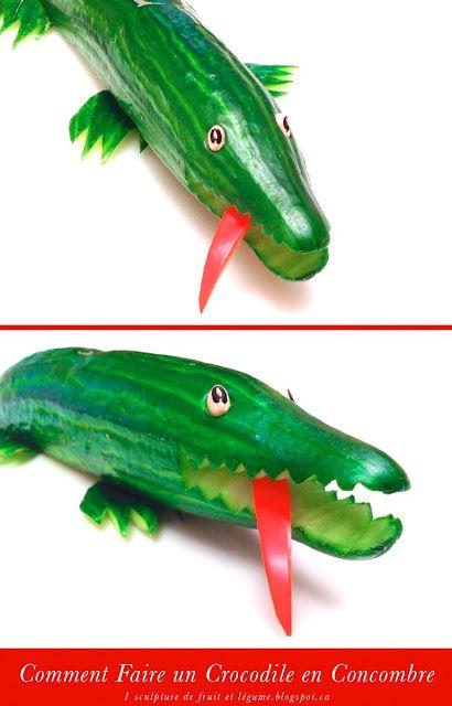 Sculpture Populaire: le Crocodile réaliser avec un Concombre