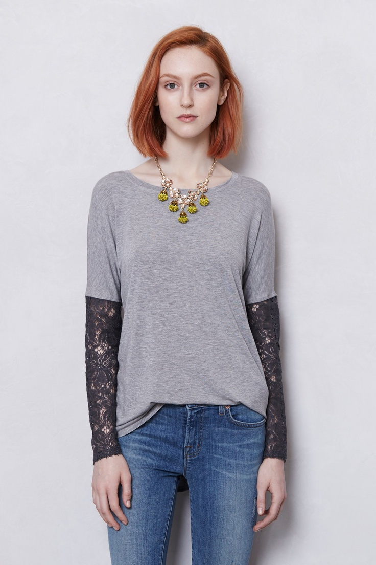 Anthropologie Bordeaux Lace-sleeved scoopneck top Brand new without tag  (though the plastic tag holder is still attached).
