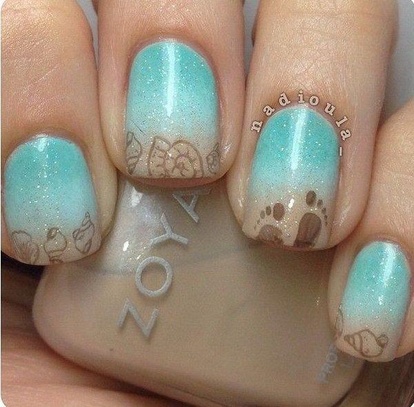 Sea Side Nail Art. Nail Design, Nail Art, Nail Salon, Irvine, Newport Beach