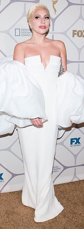 Lady Gaga in a white Brandon Maxwell dress after the Emmys