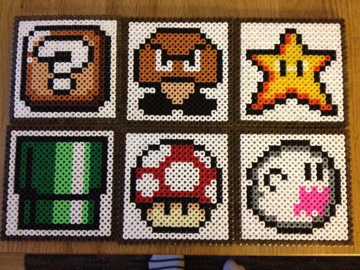 Super Mario perlerbead coasters, set of six coasters