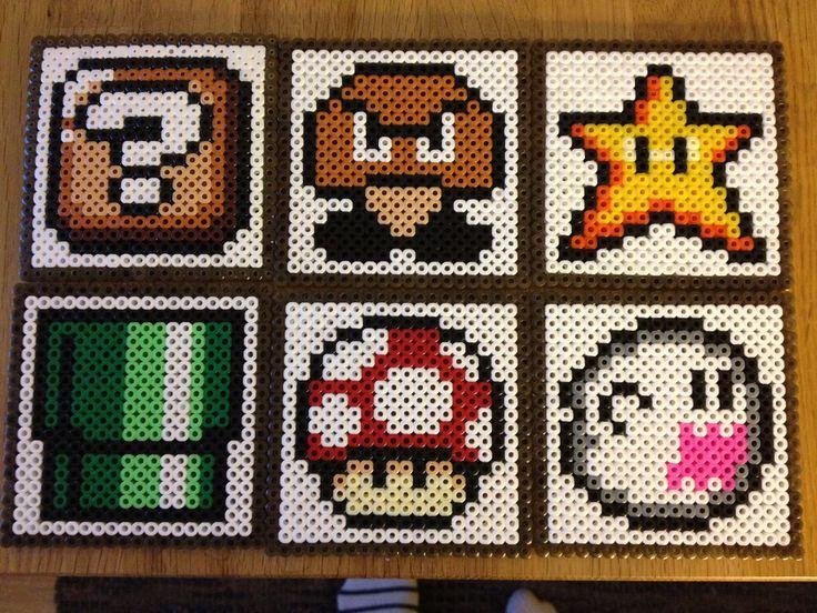 Super Mario perlerbead coasters, set of six coasters
