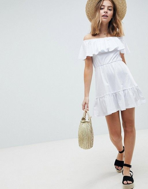 2d1bf63d906c DESIGN Petite off shoulder sundress with tiered skirt