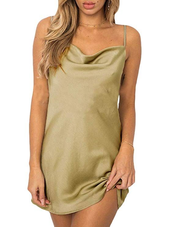 XXXITICAT Womens Sleeveless Spaghetti Strap Satin Cocktail Cowl Neck Leopard Dress