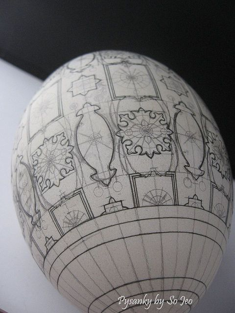 "a ""before"" picture of a pysanky egg"