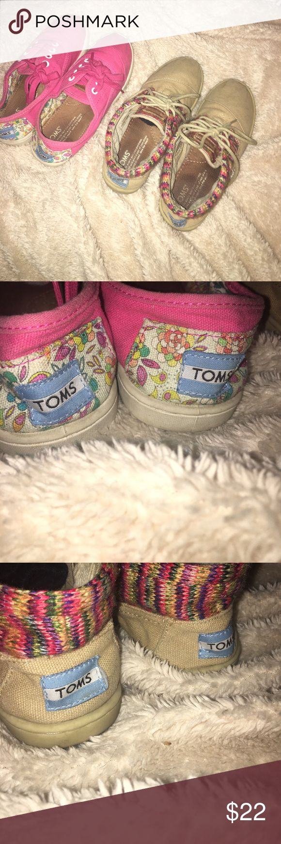 TOMS bundle w both toms bags Lightly worn, good condition. Super cute and comfy! The pink are a size 3.5 in kids and the brown are a size 3 in kids. Buy bundle for the price of half of what they were paid for, for 2️⃣ pairs. Toms Shoes Sneakers