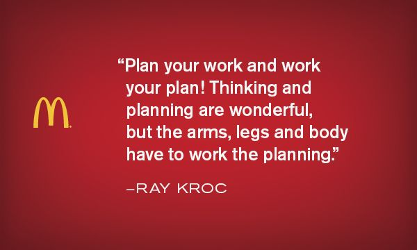 Work and planning - Krocism. #movitation #inspiration #mcdonalds