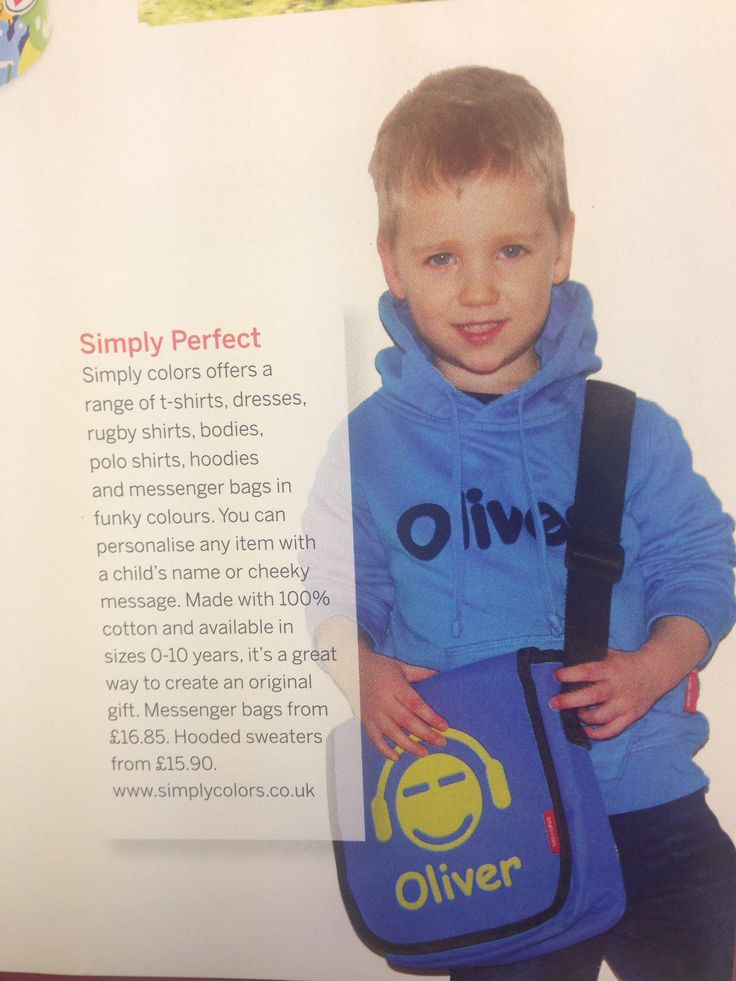 "Simply colors hoodie and bag as featured in ""mumsense"" magazine"