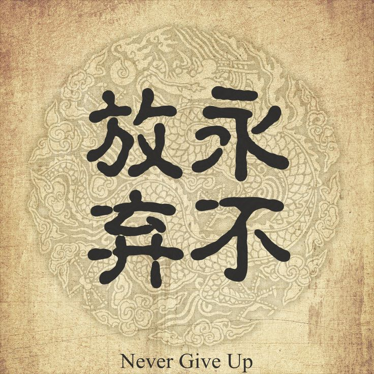 Chinese character tattoo --Never give up