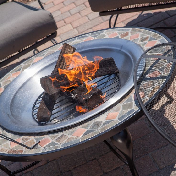 Red Ember Slate Mosaic Fire Pit With Copper Accents  Stainless Steel Bowl    Wood Burning