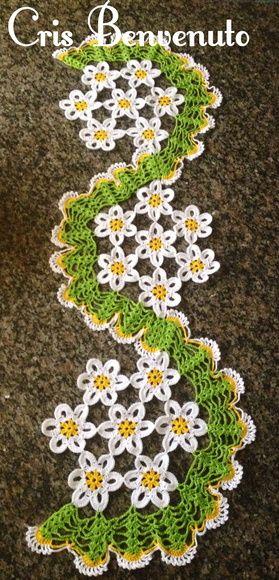 trilhos de mesa em croche com flores | trilho-de-mesa-flores-espiral-trilho-de-mesa-em-croche