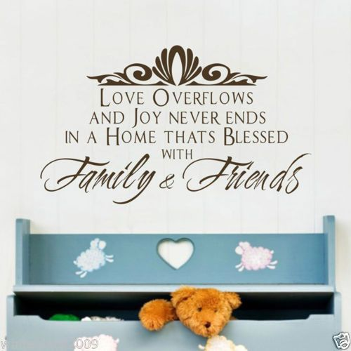 Family and friends wall quote stickers art decals living for Living room quote stickers