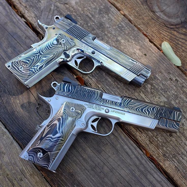 @jessejamesfirearms Dynamic Duo! #JJFU Damascus Cisco 1911's. Forged by Jesse James. We accept Exotic Watch & Car Trade Ins. Please email pics and description to JJamesFirearms@Gmail.com