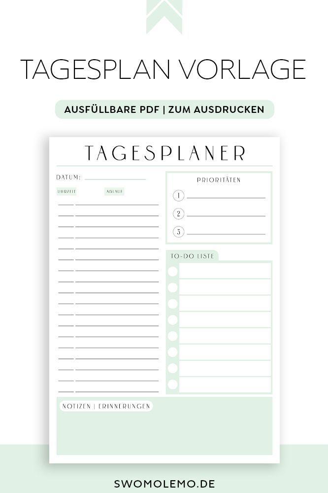 Tagesplaner Zum Ausdrucken Minimal Green Ausfullbar Swomolemo In 2020 Tagesplan Vorlagen Tagesplan Wochenplan Zum Ausdrucken