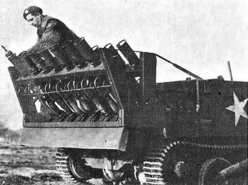 Can-UC with PIATbattery-1944. Improvised by the Canadians in 1944, this consisted of 14 PIAT projectors mounted on a frame at the rear of the carrier in two series of seven. Each row could be fired simultaneously by means of a mechanical contrivance of steel rods attached to the firing triggers. A few vehicles so fitted were used in Europe in 1944-45.