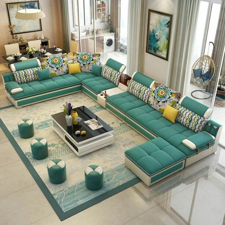 Designer U Shape Sofa Set In 2020 Living Room Sofa Design Furniture Design Living Room Modern Sofa Designs