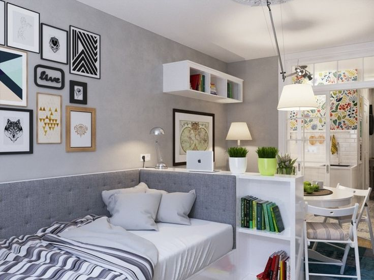 apartamentos pequenos cama estanterias libros ideas