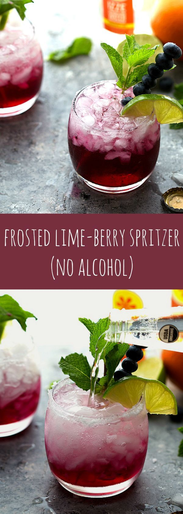 A delicious sparkling water - frosted lime berry with no alcohol. Perfect for kid's parties or a baby shower!