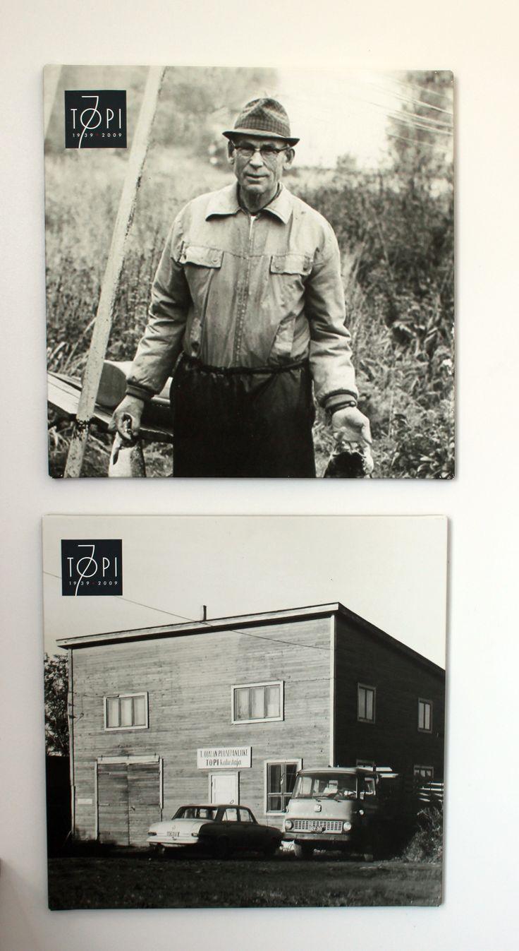 Perustajamme Toivo Ojala sekä ensimmäinen tehtaamme josta kaikki silloin joskus sai alkunsa.
