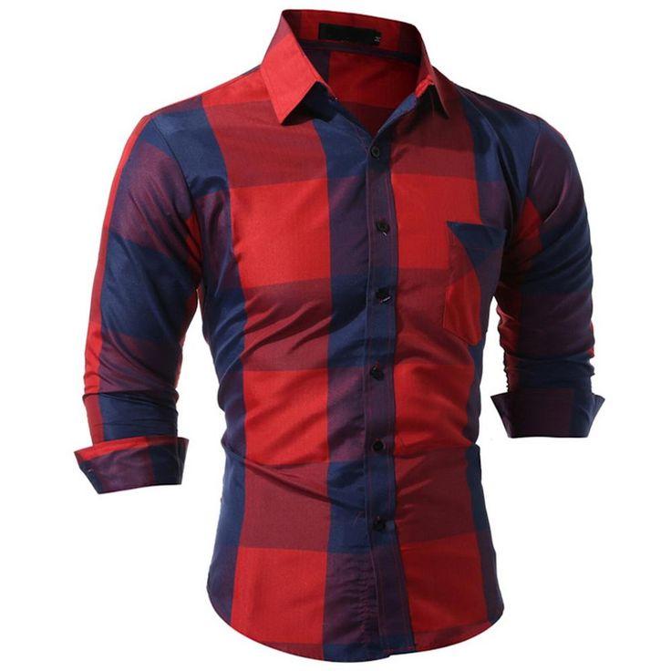 Quality Men Long Sleeve Shirt Striped Plaid Casual Broadcloth Dress Shirt