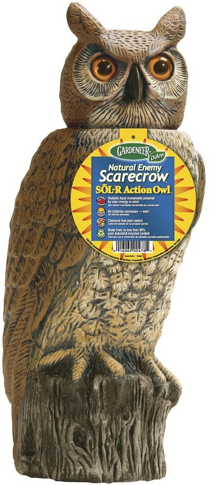 Solar  Powered  OWL Scarecrow Garden Realistic head Movements no batteries req. #Dalen