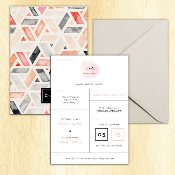 256 best knx wedding invitations images on pinterest bridal watercolor geometric wedding invitation by klynxdesigns on etsy stopboris Choice Image