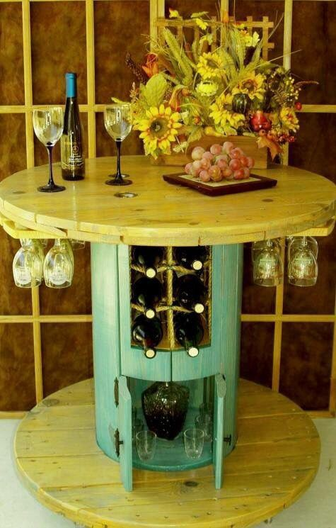 15. SPOOL TABLE DOUBLING AS WINE BAR - 16 Beautiful And Adaptable Spool Table Designs