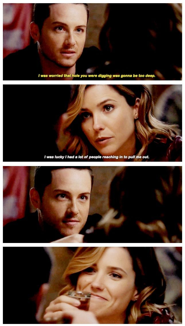 "Halstead: ""I was worried that hole you were digging was gonna be too deep."" Lindsay: ""I was lucky I had a lot of people reaching in to pull me out."" (3x04)"