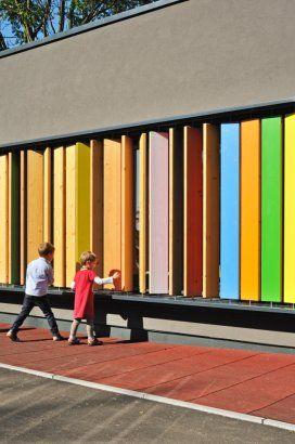 Kindergarten Kekec features rotatable vertical slats.