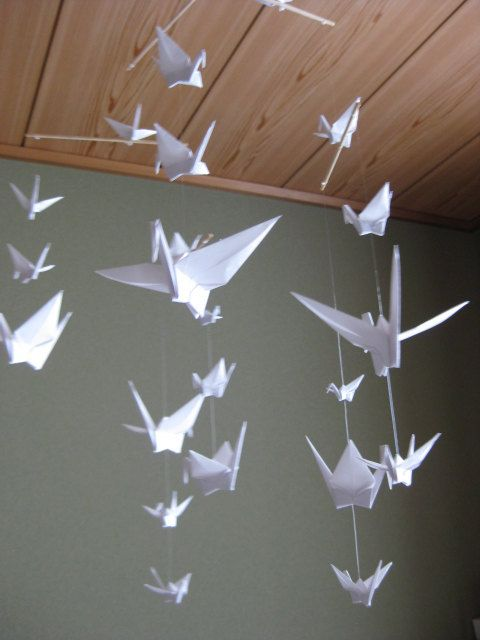 Origami Crane Mobile Pure White by makikomo on Etsy