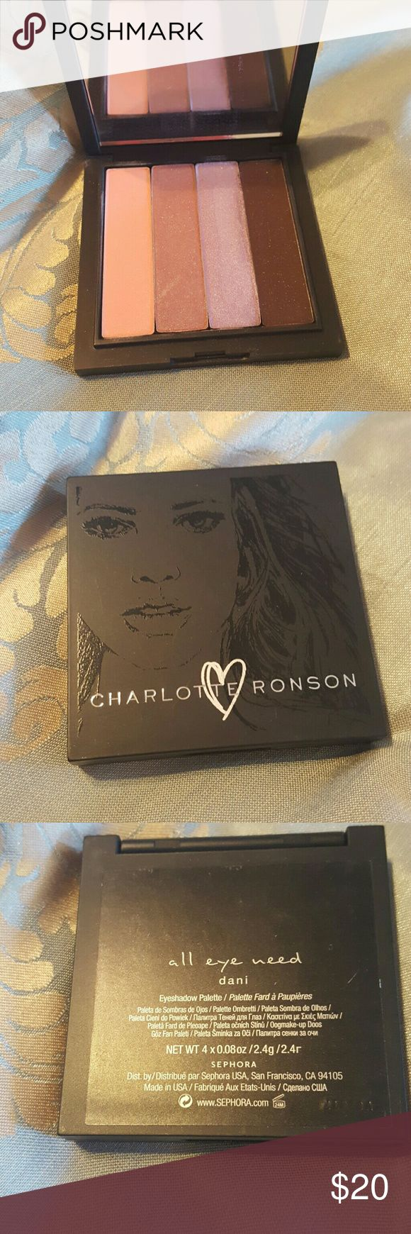 Charlotte Ronson All Eye Need Eyeshadow in Dani This brand has been discontinued at Sephora and rare. This palette has a mirror. These 4 colors all have shimmer and the dark purple has glitter. This item doesn't come with a box. Charlotte Ronson Makeup Eyeshadow