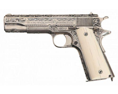 Texas Ranger Gun: Colt M1911 .45 Pistol - Silver Plated &...