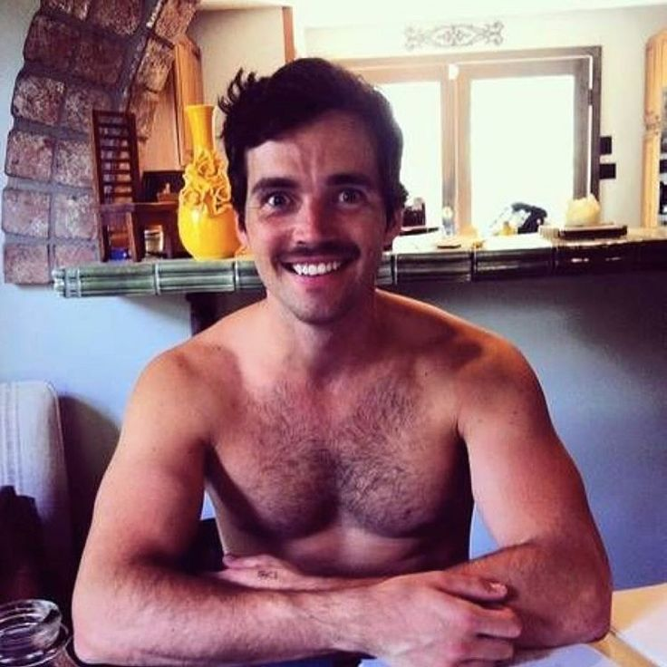 PLL actor Ian Harding with a mustache and shirtless