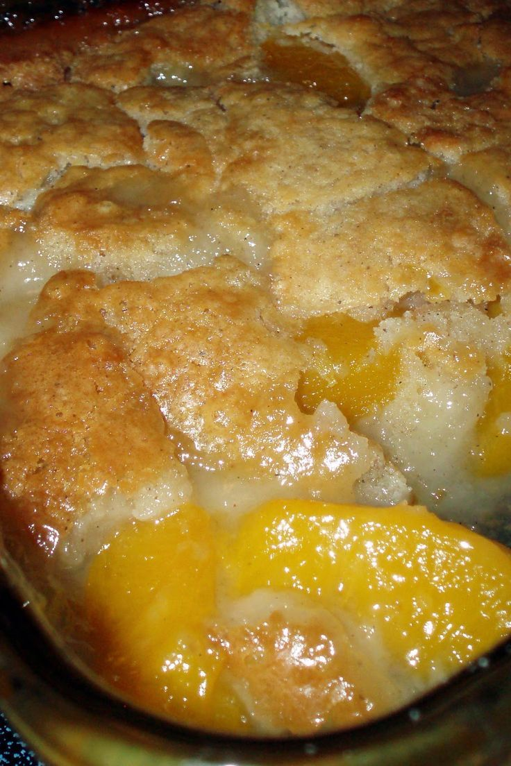 Peach Cobbler:  One stick marg, melted in pan 9x13 pan.  One large can peaches (Undrained) placed on top of melted marg.  Mix 1 c. self rise flour, 1 c. sugar, 1 c. milk. pour over peaches in pan.  sprinkle with nutmeg.  350 for 45+ mins or until done. Couldn't be easier.  Great with ice cream or whipping cream.  I've made this for many years. #food