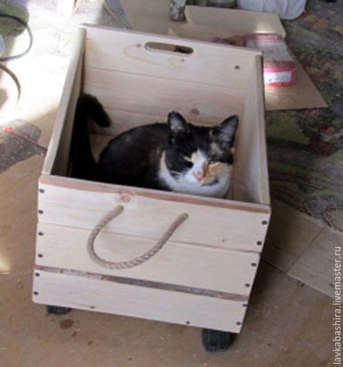 Купить ЯЩИК в стиле ЛОФТ - мини-комод, ящик деревянный, колеса, сундук деревянный, бежевый
