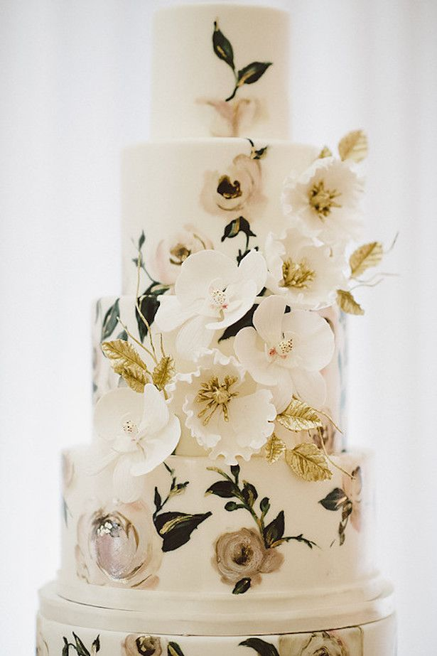 Hand Painted Wedding Cake {By Nadia and Co.}