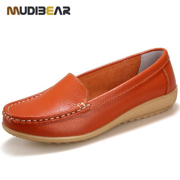 Women's Genuine Leather shoes Lady flat  Leather Slip on Casual Loafers shoes Red White Black size 35-41