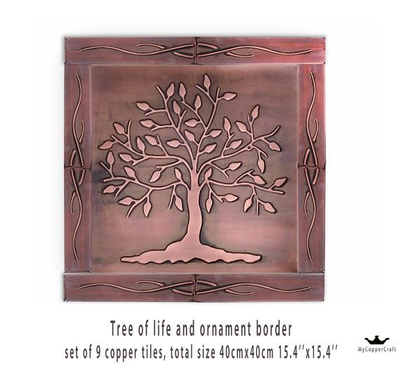 Tree of life tree tiles symbol of tree SET OF 9 by MyCopperCraft