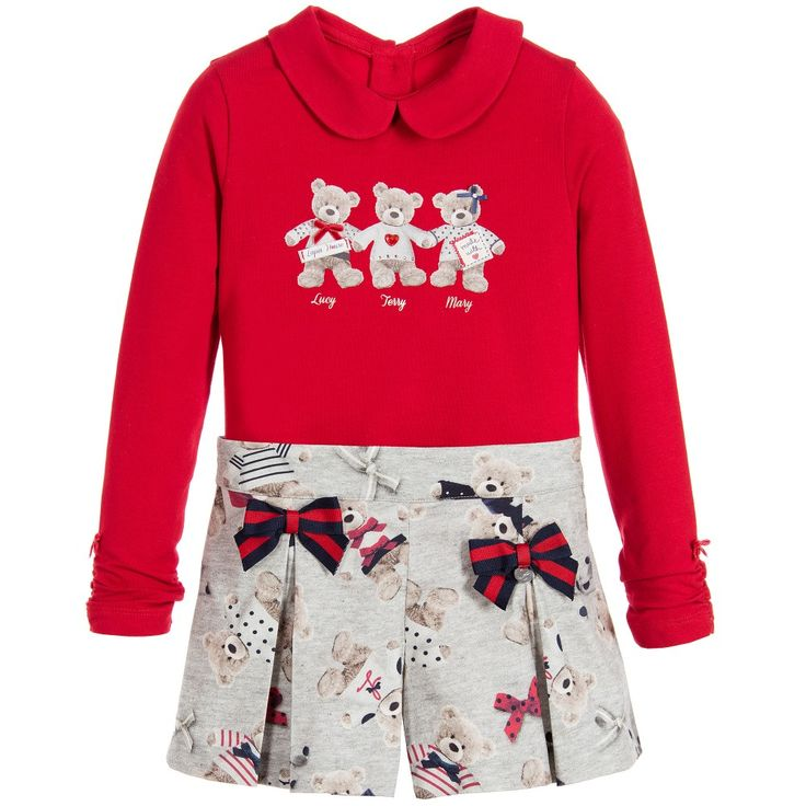 Lapin House Girls Red & Grey 2 Piece Shorts Set at Childrensalon.com