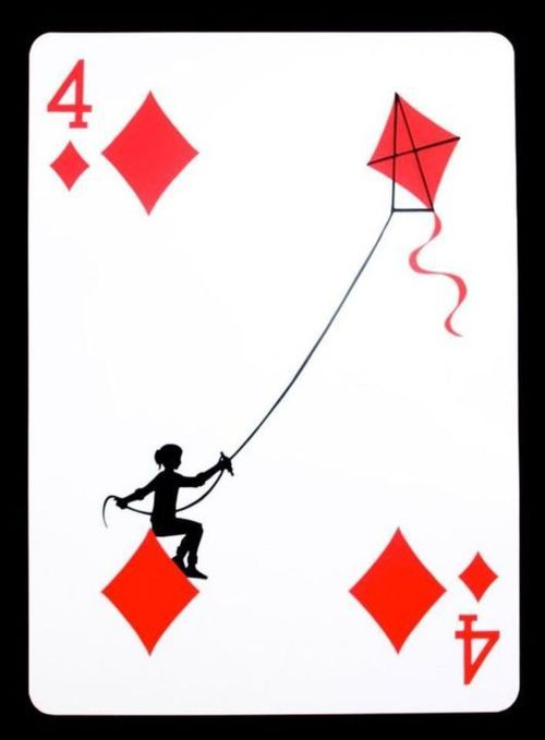 lesson: seeing creatively/seeing something new in the ordinary bring in ordinary objects(like playing cards, phone book, road signs, etc. *more ideas? please add in the comments) & create a scene based on seeing that object differently. inspired by: Playing Cards by Emmanuel Jose