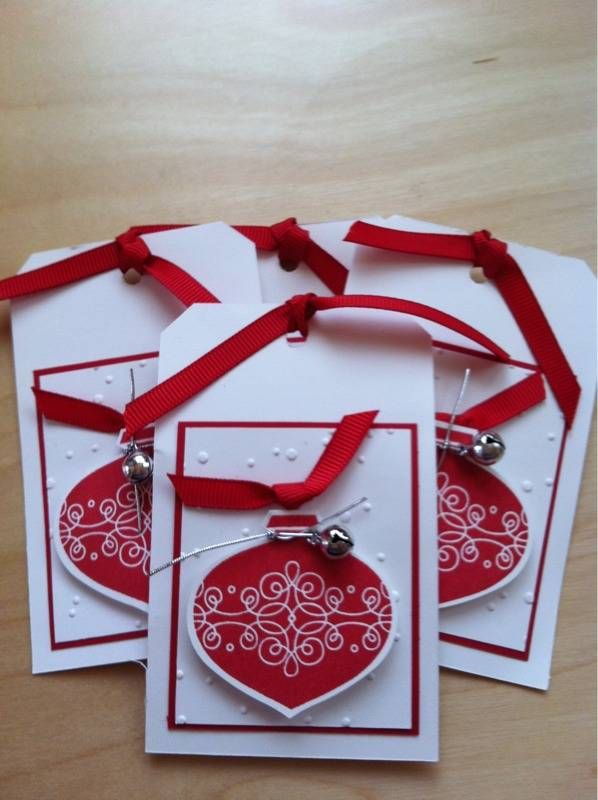 can be turned into a card....love red and whiteStampin Up Christmas Tags, Christmas Cards, Christmas Gift Tags Stampin Up, Jingle Belle, Stampin Up Gift Tag, Stampin Up Christmas Gift Tags, Ornaments Punch, Stampin Up Tags Christmas, Christmas Tags Stampin Up