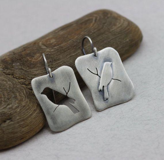 """Необычные серебряные серьги """"Birds"""""""
