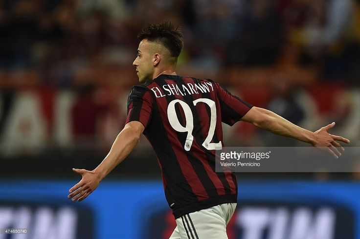 Stephan El Shaarawy of AC Milan celebrates the opening goal during the Serie A match between AC Milan and Torino FC at Stadio Giuseppe Meazza on May 24, 2015 in Milan, Italy.