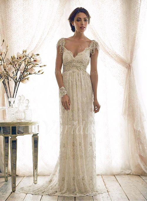 Etui-Linie V-Ausschnitt Sweep/Pinsel zug Spitze Brautkleid mit Perlen verziert Schleife(n)  von Vbridal