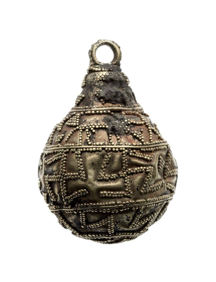 There is a pear-shaped with loop at the top of the pendant for suspension. The granulated decoration is arranged in zones: (1) Triangles; (2) Men, stags and triangles; (3) Swastikas; (4) N repeated seven times. On the bottom there is a swastika in a circle. Condition: A hole in the 3rd and 4th zones; pendant is dented inplaces.