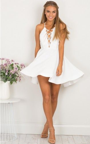 Spun Up dress in white lace
