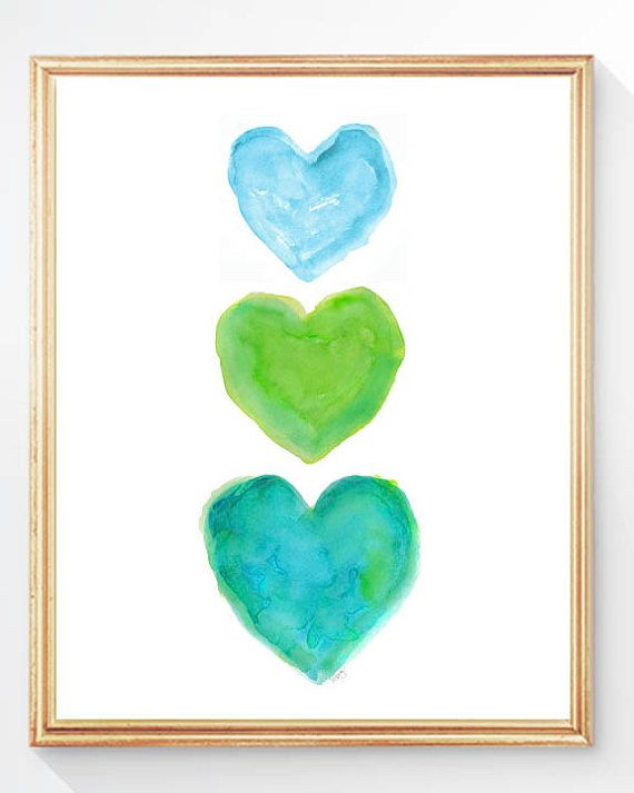 Turquoise and Lime Art Aqua and Lime 8x10 by OutsideInArtStudio