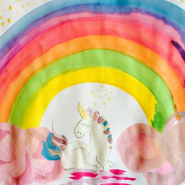Malen mit Kindern, Einhorn, Regenbogen, Wasserfarben,